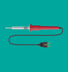 Soldering iron tool with plastic handle and plug vector