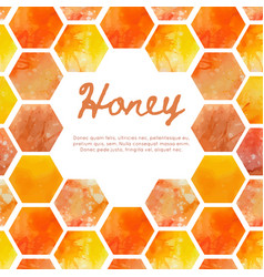 Square card with watercolor honeycomb vector