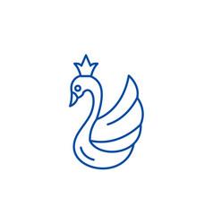 swan line icon concept swan flat symbol vector image