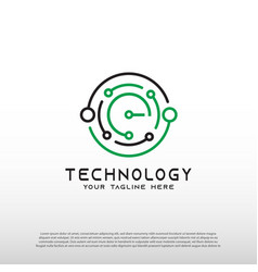 Technology logo with initial e letter global vector