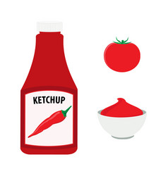 tomato ketchup with hot chili pepper bottle whole vector image