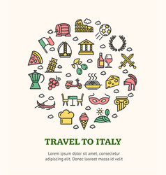 travel to italy round design template black thin vector image