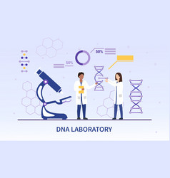 Two diverse researchers in a dna laboratory vector