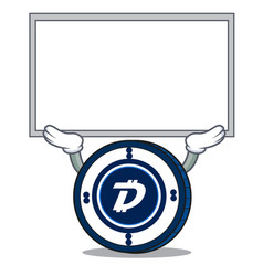 Up board digibyte coin character cartoon vector