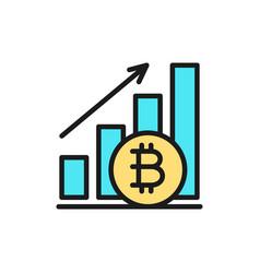 Upward graph bitcoin coin cryptocurrency flat vector