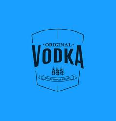 Vodka logo design glass vodka label on blue vector