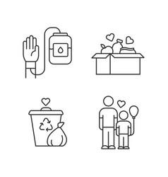 Volunteering linear icons set altruistic activity vector