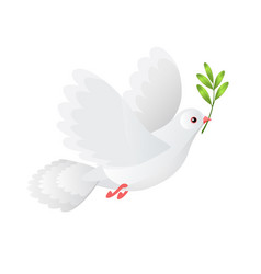 White dove holding olive branch gradient vector