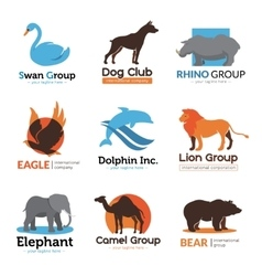 Wild Animals Flat Emblems Collection vector