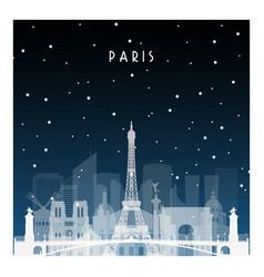 winter night in paris night city in flat style vector image