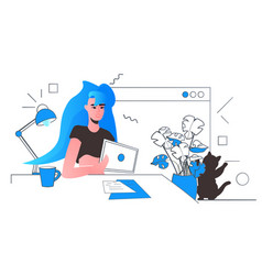 woman using tablet pc social media network online vector image