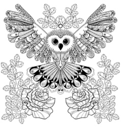 Zentangle stylized Black Owl with rose for adult vector