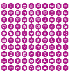 100 database icons hexagon violet vector image vector image