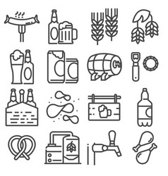 beer set of outline icons vector image