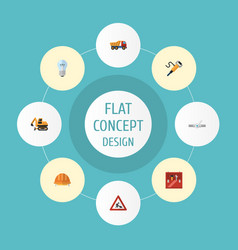flat icons caution pneumatic hardhat and other vector image vector image