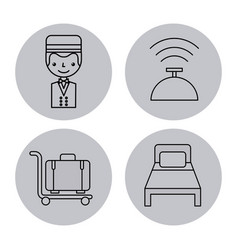 Icon set travel accessories rest vector
