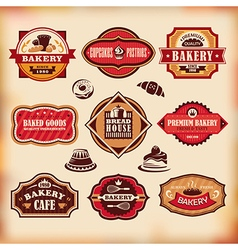 Set of vintage various bakery labels vector image vector image