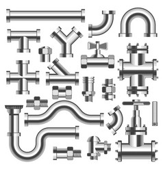 Silver tubes and pipeline details with cranes set vector