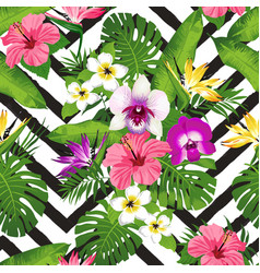 tropical flowers and palm leaves on zig zag vector image vector image