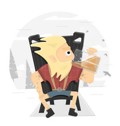 viking on a throne drinking a large mug of beer vector image vector image