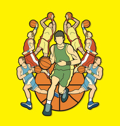 basketball team player dunking dripping ball vector image vector image