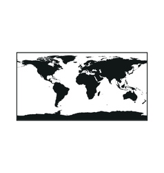 Black Political World Map monochrome on white vector image