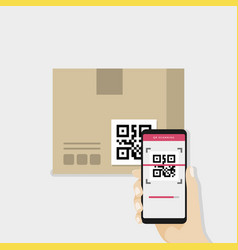 hand holding smartphone to scan qr code on box vector image vector image