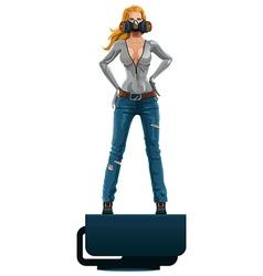 scifi girl in respirator vector image
