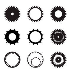 set of gears black silhouettes on a white vector image vector image