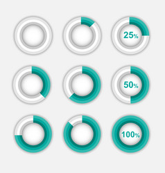 set of green pie chart circle infographic vector image vector image