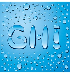 set of water drops letters on blue background vector image