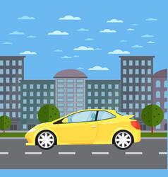 Modern universal car in urban landscape vector