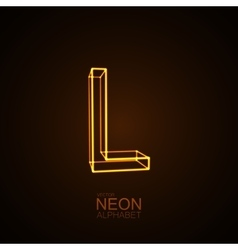 Neon 3D letter L vector image vector image