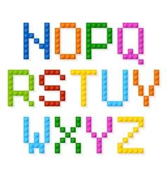 Plastic construction blocks alphabet vector image