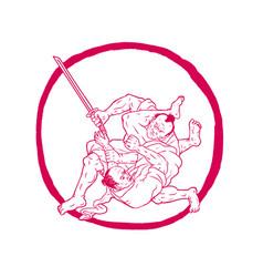 samurai jui jitsu fighting enso drawing vector image