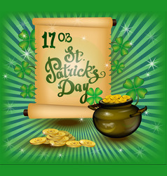 st patrick day greeting vector image vector image