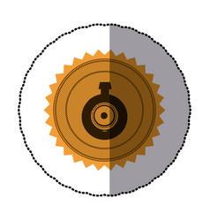 sticker of circular frame with contour sawtooth vector image