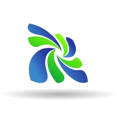 Fresh green and blue Eco or Bio icon vector image vector image