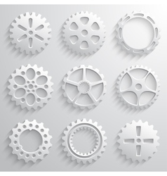 Gear wheels icon set Nine 3d gears on a light gray vector image