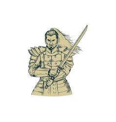 samurai warrior swordfight stance drawing vector image vector image