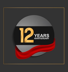 12 years anniversary logotype with golden color vector