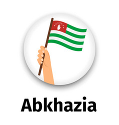 abkhazia flag in hand round icon vector image