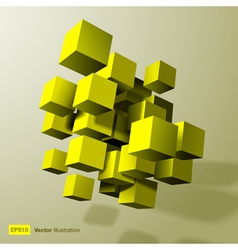 Abstract composition of yellow 3d cubes vector