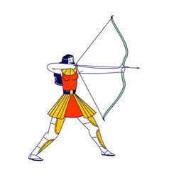 Amazon female character with shooting bow isolated vector