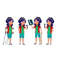 asian girl kid poses school child vector image