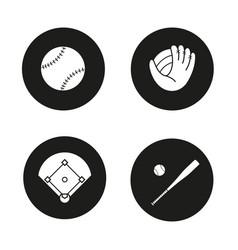 baseball icons set vector image