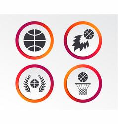 Basketball icons ball with basket and fireball vector
