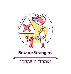 Beware strangers concept icon vector