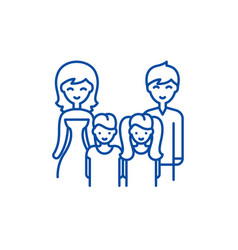 big family line icon concept big family flat vector image
