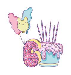 birthday cake with balloons and number six vector image